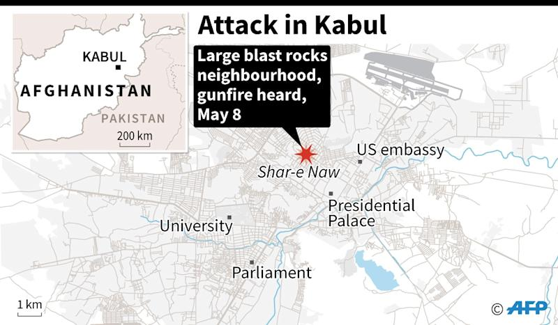 Map locating an attack in the Shar-e-Naw area in Kabul. (AFP Photo/)