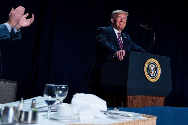 PHOTO: President Donald Trump smiles as he arrives to speak at the 68th annual National Prayer Breakfast, at the Washington Hilton, Feb. 6, 2020, in Washington. (Evan Vucci/AP, FILE)