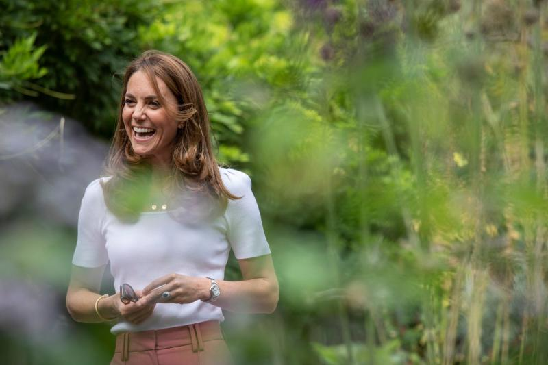Kate during a visit to meet mothers in Battersea Park, south west London (PA)
