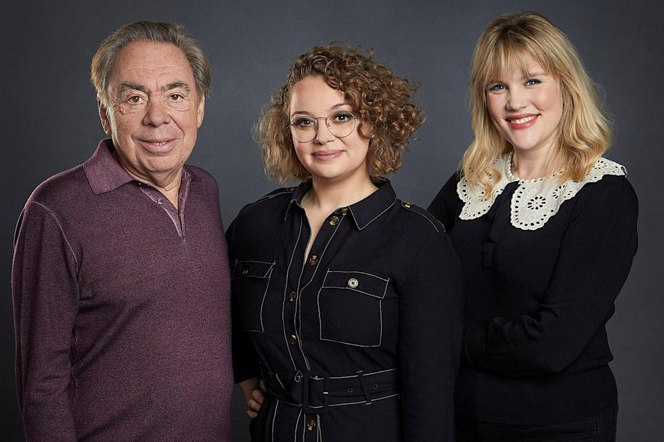 Lloyd Webber with Carrie Hope Fletcher, who plays the lead, and Emerald Fennell who wrote the show (PA)