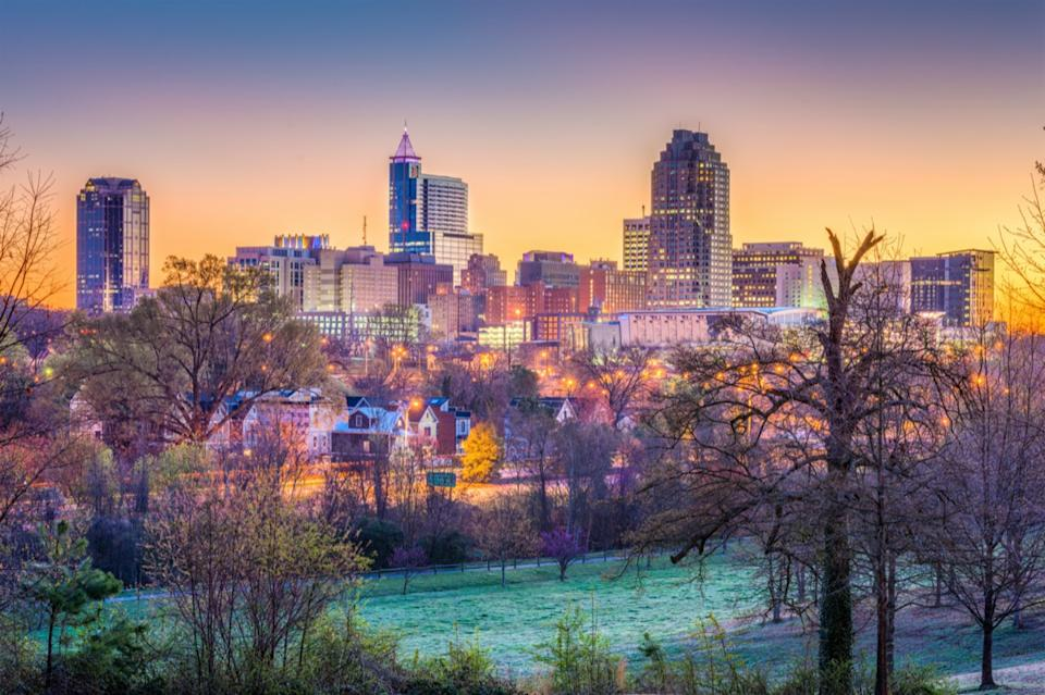 city skyline of Raleigh, North Carolina at dusk