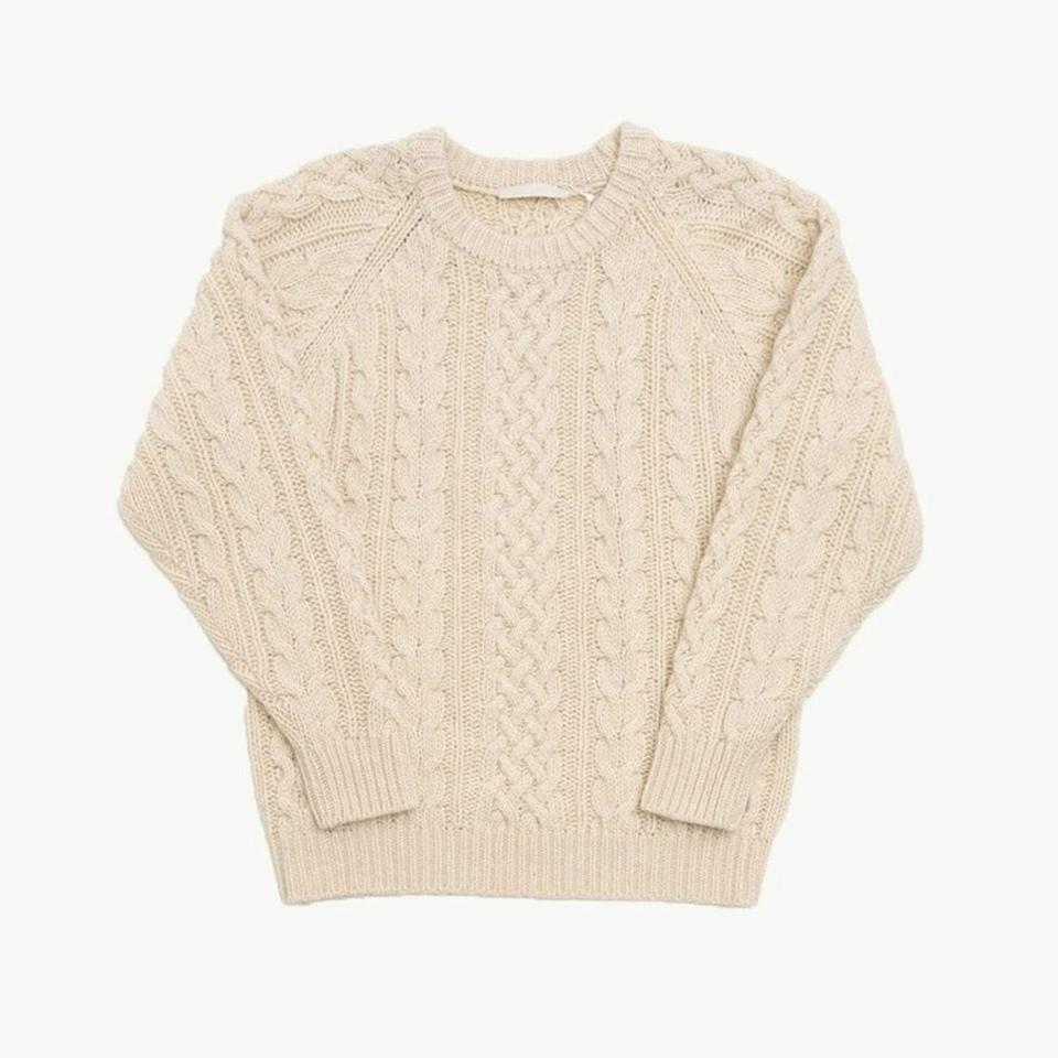 """$225, GARMENTORY. <a href=""""https://www.garmentory.com/sale/amomento/women-pullovers/780235-amomento-cable-knit-pullover-cream"""" rel=""""nofollow noopener"""" target=""""_blank"""" data-ylk=""""slk:Get it now!"""" class=""""link rapid-noclick-resp"""">Get it now!</a>"""