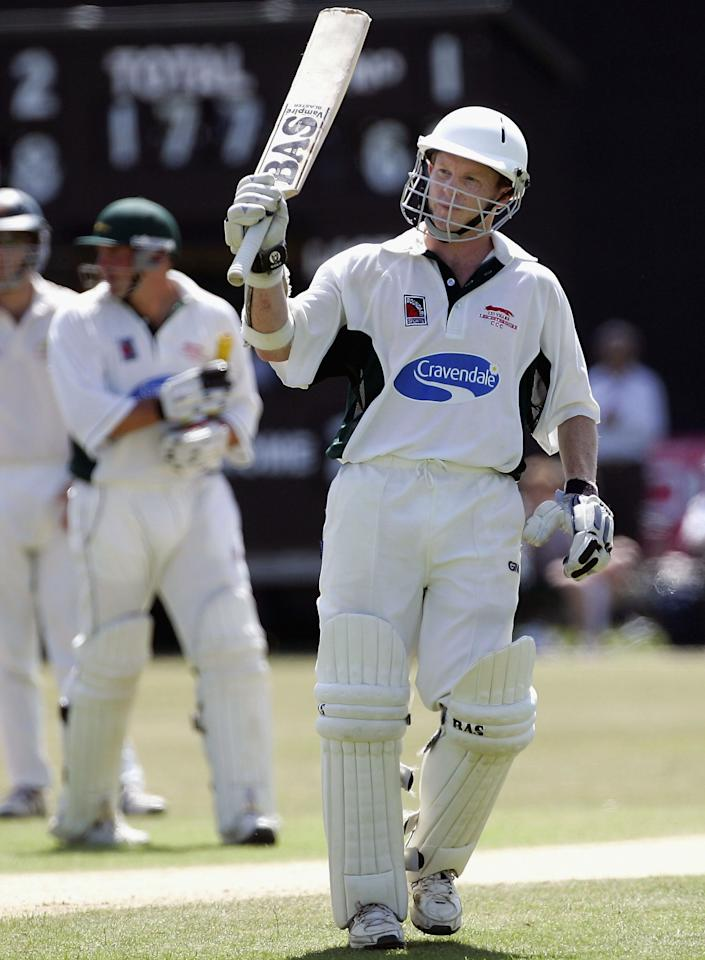 LEICESTER, UNITED KINGDOM - JULY 17:  Chris Rogers of Leicestershire reaches his century during day three of the Tour Match between Leicestershire and Australia played at Grace Road on July 17, 2005 in Leicester, United Kingdom  (Photo by Hamish Blair/Getty Images)