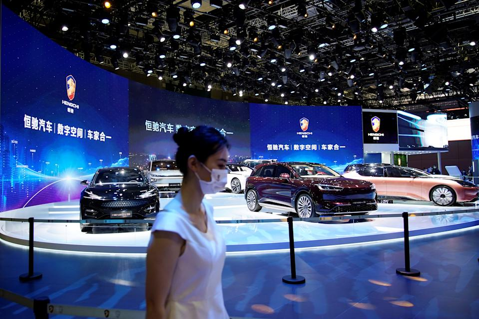 Evergrande Group's Hengchi electric vehicles (EV) are seen displayed at the Hengchi booth during a media day for the Auto Shanghai show in Shanghai, China April 19, 2021. REUTERS/Aly Song