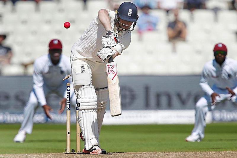 Short stay | Mark Stoneman makes just eight on his Test debut against West Indies at Edgbaston as he is bowled by Kemar Roach: Rex Features