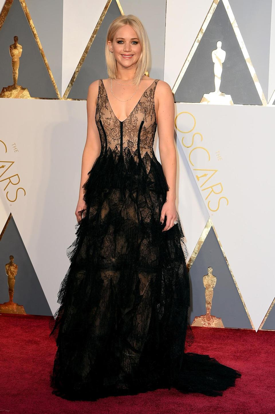 <p>It may seem as if Jennifer Lawrence has been walking the red carpet forever, but the Oscar-winning actress (and nominee this year for<i> Joy</i>) is still just 25 years old. Despite her ongoing contract with Dior, Lawrence continues to surprise us with her dress choices, like this almost Gothic layered custom Dior gown with illusion top. <i>(Photo: Getty)</i></p>