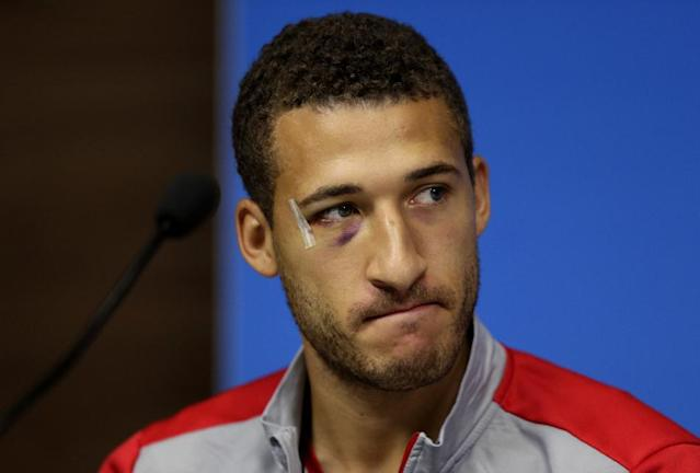 United States' Fabian Johnson attends a press conference prior to a training session in Recife, Brazil, Wednesday, June 25, 2014. The U.S. will play Germany in group G of the 2014 soccer World Cup on June 26. (AP Photo/Julio Cortez)
