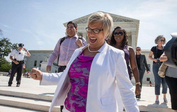 PHOTO: Amy Hagstrom Miller, founder of Whole Woman's Health, a Texas women's health clinic that provides abortions, rejoices as she leaves the Supreme Court in Washington, June 27, 2016. (J. Scott Applewhite/AP, FILE)