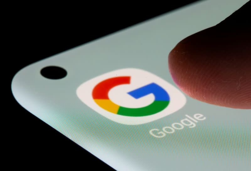 Google app is seen on a smartphone in this illustration