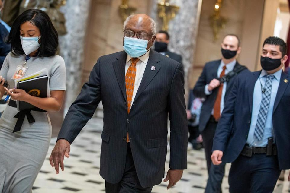 James Clyburn walks to his office from the House floor inside the US Capitol.