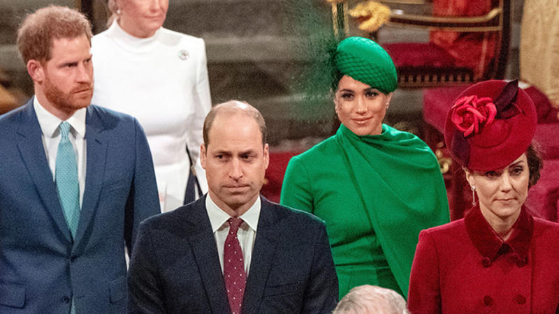 (L-R) Harry William Meghan and Kate don't smile at church
