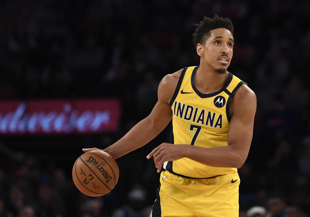 After going down in their loss to the Bucks on Wednesday, Malcolm Brogdon is now listed as week-to-week with a left leg injury. (Sarah Stier/Getty Images)