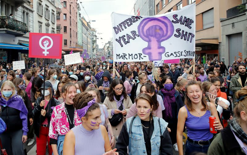 March to demand more equality and the end of violence against women in Zurich