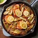 <p>Sun-dried tomato pesto and lemon do double duty to season both the salmon and the couscous in this healthy one-pan dinner recipe. Serve the salmon with extra lemon wedges and a dollop of plain yogurt, if desired.</p>