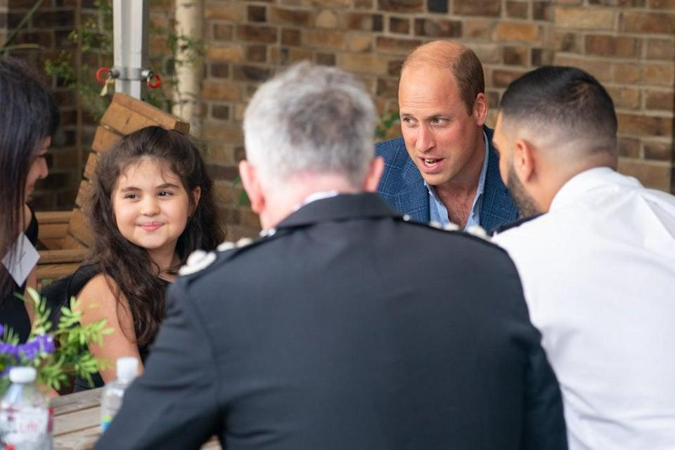 The Duke of Cambridge speaks to Noura during a visit to meet emergency responders and members of the public who received their life-saving support (Dominic Lipinski/PA) (PA Wire)