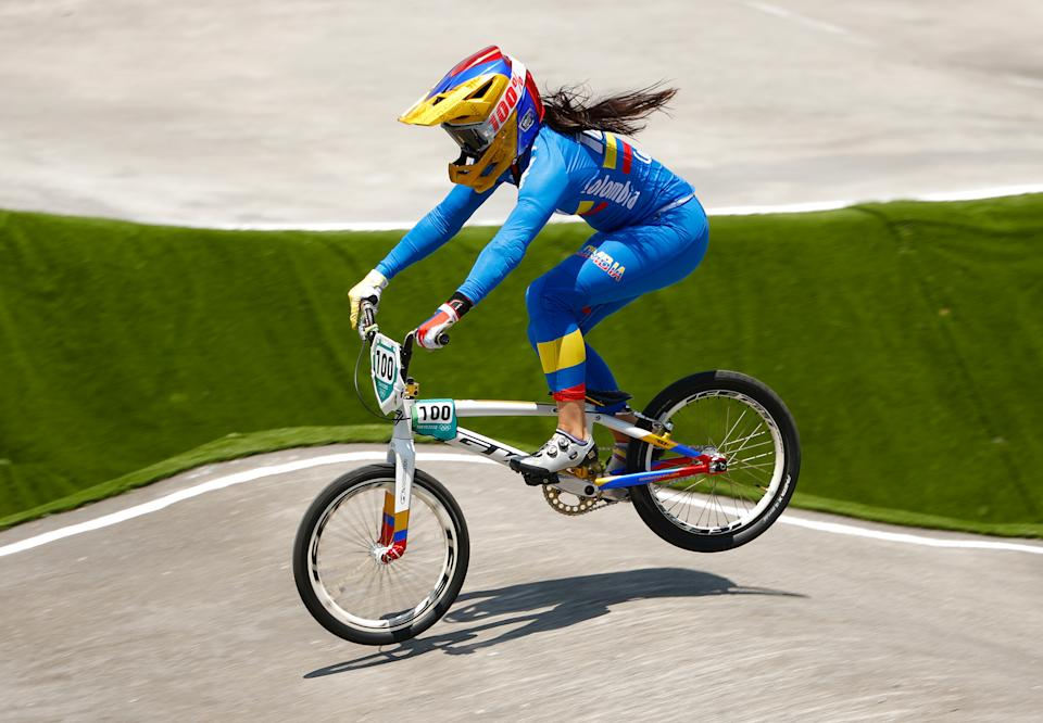TOKYO, JAPAN - JULY 29: Mariana Pajon of Team Colombia jumps during the Women's BMX quaterfinal heat 1, run 3 on on day six of the Tokyo 2020 Olympic Games at Ariake Urban Sports Park on July 29, 2021 in Tokyo, Japan. (Photo by Ezra Shaw/Getty Images)