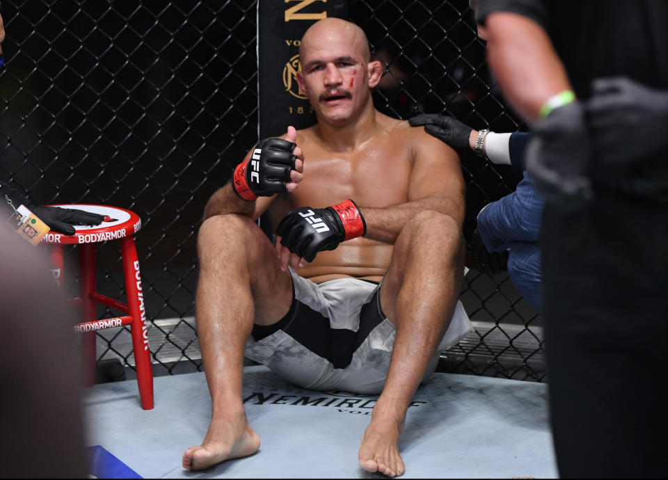 Junior dos Santos was knocked out for a third fight in a row on Saturday at UFC 252 in Las Vegas. (Photo by Jeff Bottari/Zuffa LLC)