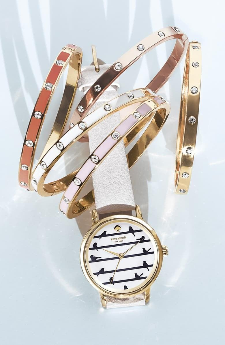 <p>Choose between gold and silver when you buy the <span>Kate Spade New York Crystal Hinge Bangle</span> ($48) .</p>