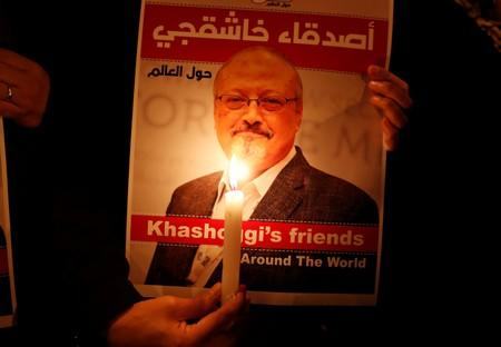 Jamal Khashoggi outside the Saudi Arabia consulate in Istanbul
