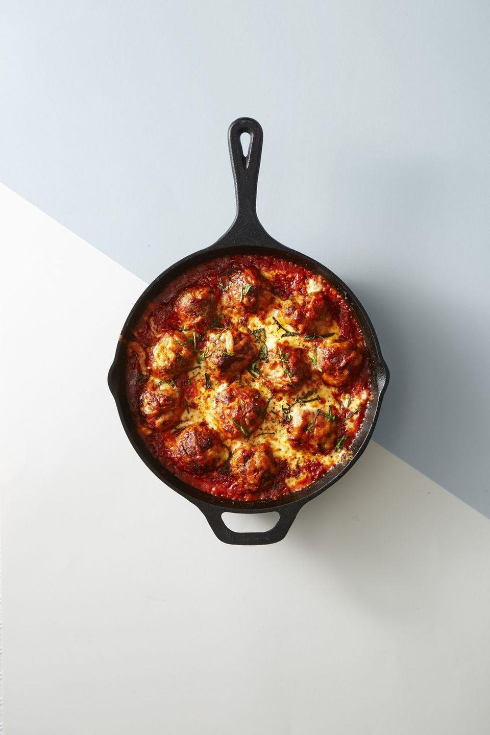 """<p><a href=""""https://www.goodhousekeeping.com/food-recipes/easy/g4215/meatball-recipes/"""" rel=""""nofollow noopener"""" target=""""_blank"""" data-ylk=""""slk:Juicy meatballs"""" class=""""link rapid-noclick-resp"""">Juicy meatballs</a>, covered in gooey mozzarella cheese sounds like the perfect dish to share with the family tonight.</p><p><em><a href=""""https://www.goodhousekeeping.com/food-recipes/a42821/doubly-cheesy-meatball-bake-recipe/"""" rel=""""nofollow noopener"""" target=""""_blank"""" data-ylk=""""slk:Get the recipe for Doubly Cheesy Meatball Bake »"""" class=""""link rapid-noclick-resp"""">Get the recipe for Doubly Cheesy Meatball Bake »</a></em></p>"""