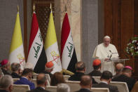 Pope Francis delivers his speech at Baghdad's Presidential Palace, Iraq, Friday, March 5, 2021. Pope Francis has arrived in Iraq to urge the country's dwindling number of Christians to stay put and help rebuild the country after years of war and persecution, brushing aside the coronavirus pandemic and security concerns. (AP Photo/Andrew Medichini)