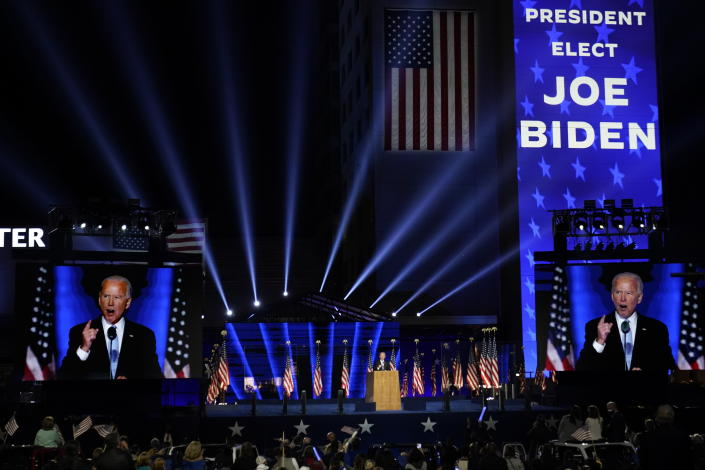 President-elect Joe Biden speaks Saturday in Wilmington, Del. (AP/Andrew Harnik)