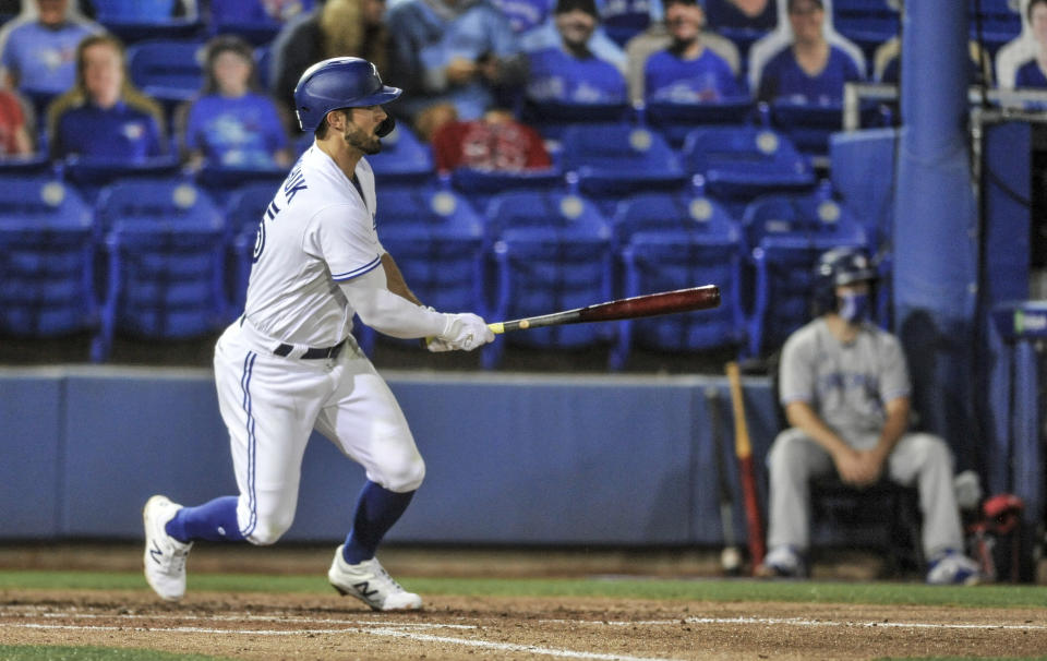 Toronto Blue Jays' Randal Grichuk watches his three-run double off Los Angeles Angels' Jose Quintana during the second inning of a baseball game Saturday, April 10, 2021, in Dunedin, Fla. (AP Photo/Steve Nesius)