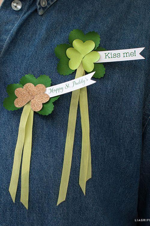 """<p>Don a subtle nod to the holiday with these pins that spread well wishes to those around you. </p><p><em><a href=""""https://liagriffith.com/paper-shamrock-headband-and-pin-for-st-patricks-day/"""" rel=""""nofollow noopener"""" target=""""_blank"""" data-ylk=""""slk:Get the tutorial at Lia Griffith »"""" class=""""link rapid-noclick-resp"""">Get the tutorial at Lia Griffith »</a></em><br></p>"""