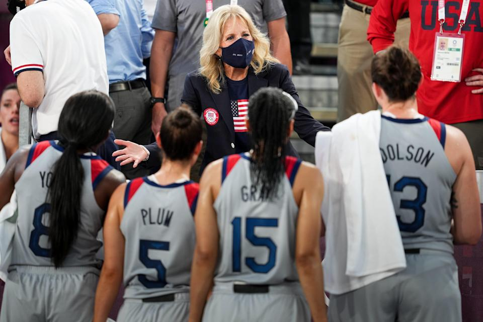 First Lady Jill Biden greets the USA team after they faced France in a 3x3 basketball game during the Tokyo 2020 Olympic Summer Games at Aomi Urban Sports Park.