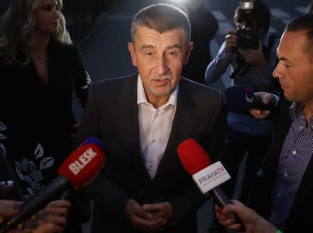 The leader of ANO party Andrej Babis answers questions from the media at the party's election headquarters after the country's parliamentary elections in Prague, Czech Republic October 21, 2017. REUTERS/David W Cerny