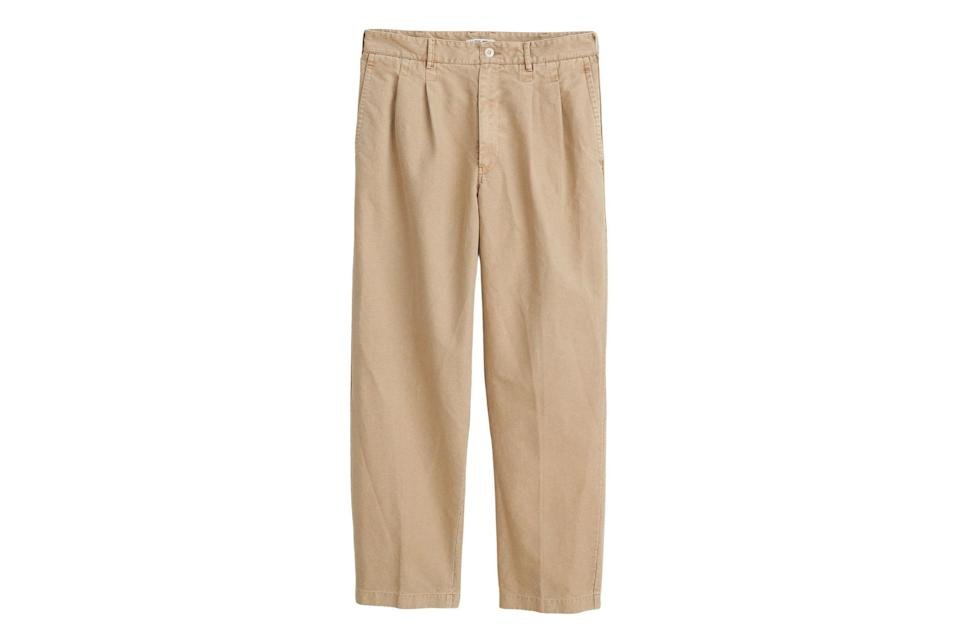 """<p>Embrace the antithesis of the skinny jean with some roomy and relaxed trousers.</p> <p><em>Alex Mill Double pleat trouser</em></p> $145, Alex Mill. <a href=""""https://www.alexmill.com/collections/all-mens/products/double-pleat-trouser-in-vintage-twill"""" rel=""""nofollow noopener"""" target=""""_blank"""" data-ylk=""""slk:Get it now!"""" class=""""link rapid-noclick-resp"""">Get it now!</a>"""