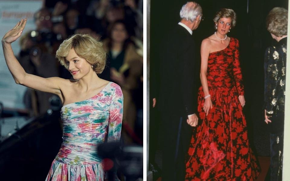 Emma Corrin and Diana wearing one-shoulder floral gowns - Netflix/ Getty