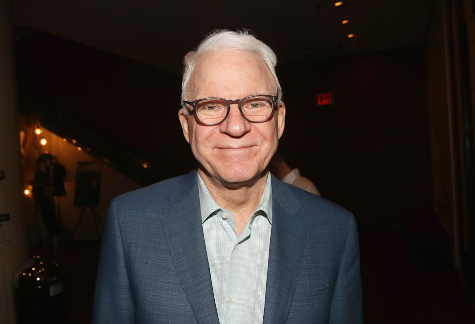 """NEW YORK, NY - APRIL 23:  Steve Martin poses as he visits """"Rogers & Hammerstein's Oklahoma!"""" on Broadway at The Circle in The Square Theatre on April 23, 2019 in New York City.  (Photo by Bruce Glikas/WireImage)"""