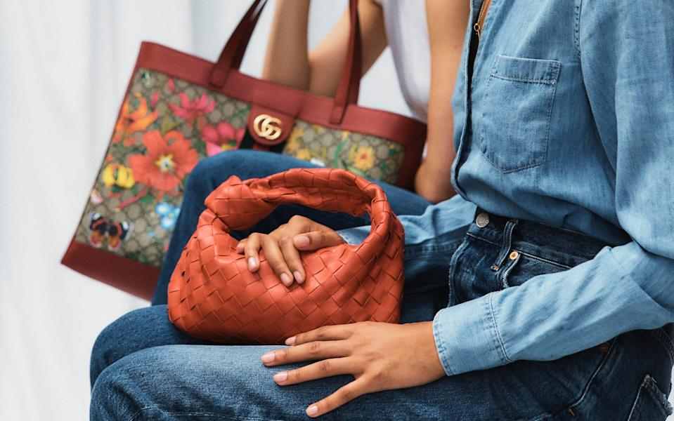 Bags by Gucci and Bottega Veneta, available to rent at COCOON