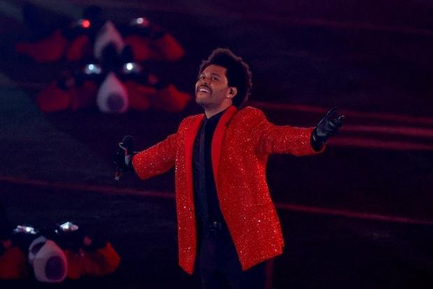The Weeknd performs during the Pepsi Super Bowl LV Halftime Show on Feb. 7, 2021 in Tampa, Fla.