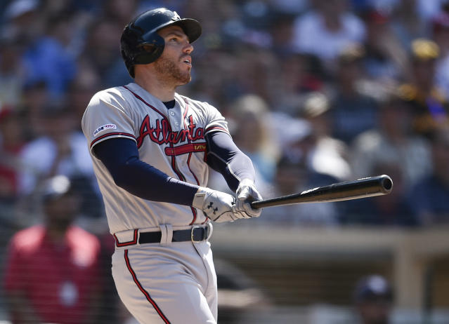 Atlanta Braves' Freddie Freeman looks up after hitting a three-run home run during the eighth inning of a baseball game against the San Diego Padres in San Diego, Sunday, July 14, 2019. (AP Photo/Kelvin Kuo)
