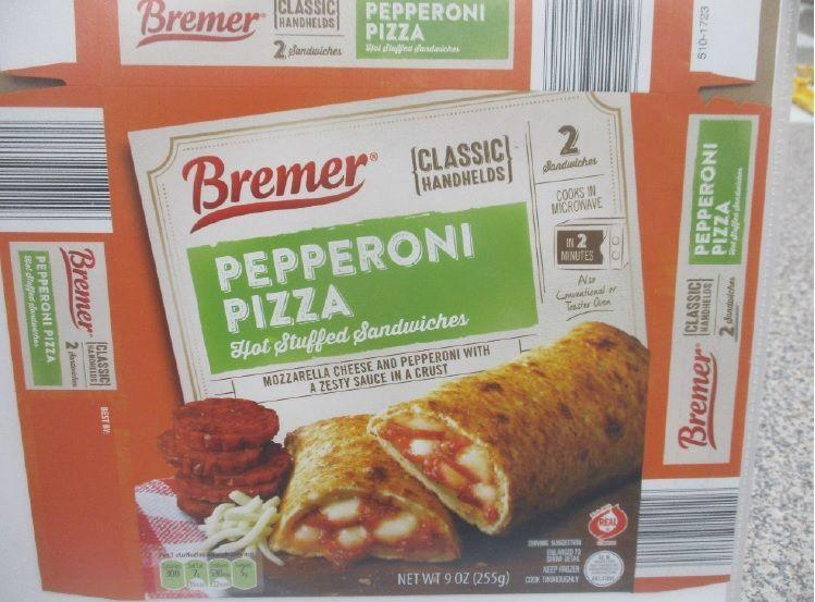 The potentially contaminated Bremer pizza and hand-and-cheese stuffed sandwiches were made by J & J Snack Foods Handhelds Corp and sold nationwide.