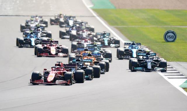 Charles Leclerc leads the race after the restart