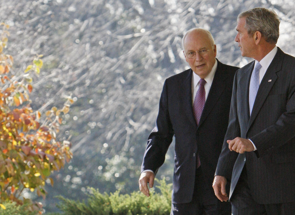 FILE - President Bush walks with Vice President Dick Cheney to the Rose Garden of the White House in Washington on Dec. 14, 2007, tomake a statement to reporters after a Cabinet meeting. A new CNN Films documentary explores the role of the U.S. vice presidency, which in modern times has emerged into a more powerful position. Still, the film notes that a veep's duties are all up to the president. (AP Photo/Charles Dharapak, File)