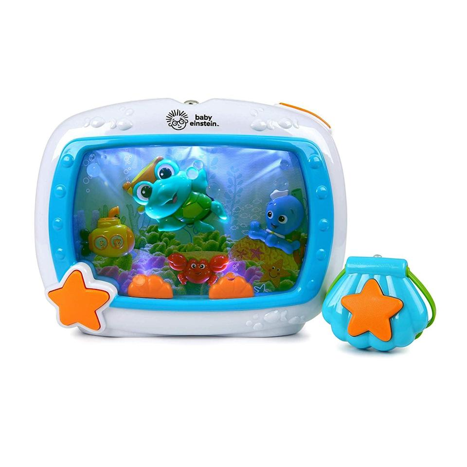 <p>Little ones can't get enough of the soothing lights and sounds of this <span>Baby Einstein Sea Dreams Machine</span> ($40).</p>