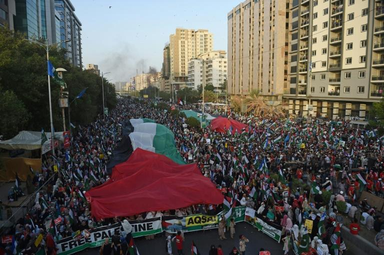 In Pakistan, supporters of the the Jamaat-e-Islami political party held Palestinian flags during a protest May 23