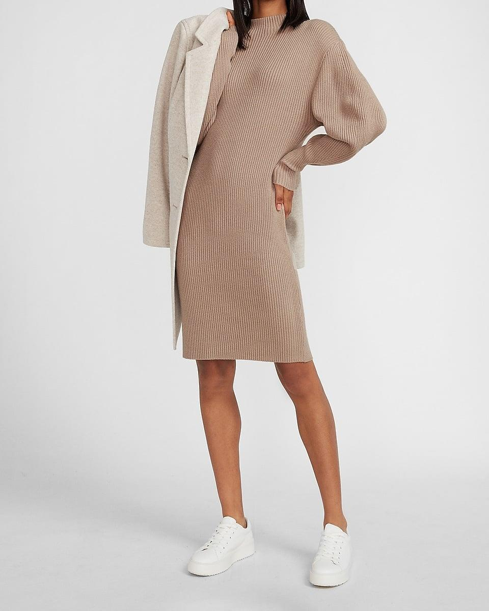 <p>This <span>Ribbed Mock Neck Balloon Sleeve Sweater Dress</span> ($65, originally $78) gives off the most easygoing vibes.</p>