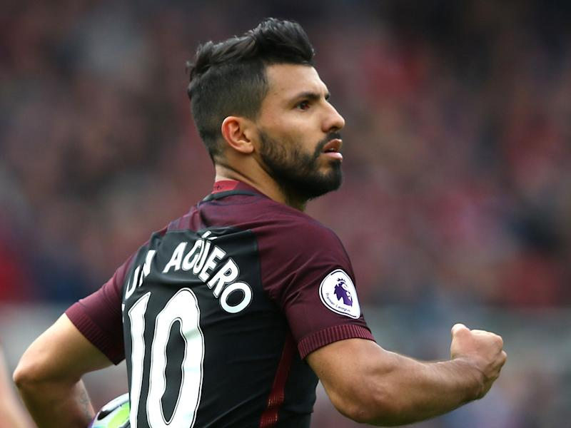 Sergio Aguero hobbled off before the end of the draw at Middlesbrough: Getty