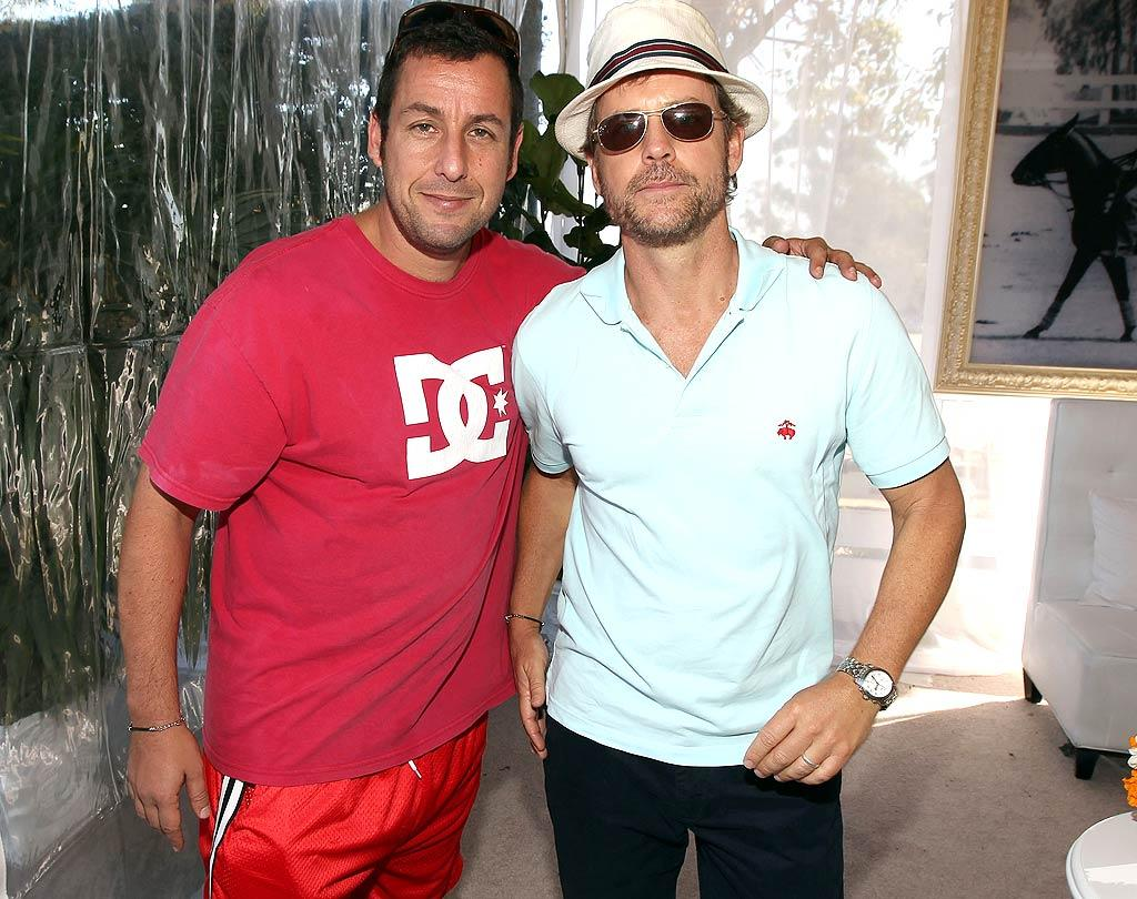 Apparently, Adam Sandler didn't get the memo about attire. As usual, the funnyman went casual in a T-shirt and shorts, while Greg Kinnear donned a polo and a bucket hat for the occasion.  Christopher Polk/GettyImages.com