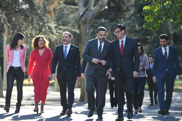 Spanish ministers welcome the Catalan government delegation prior to holding a meeting between both executives at the Moncloa Palace in Madrid