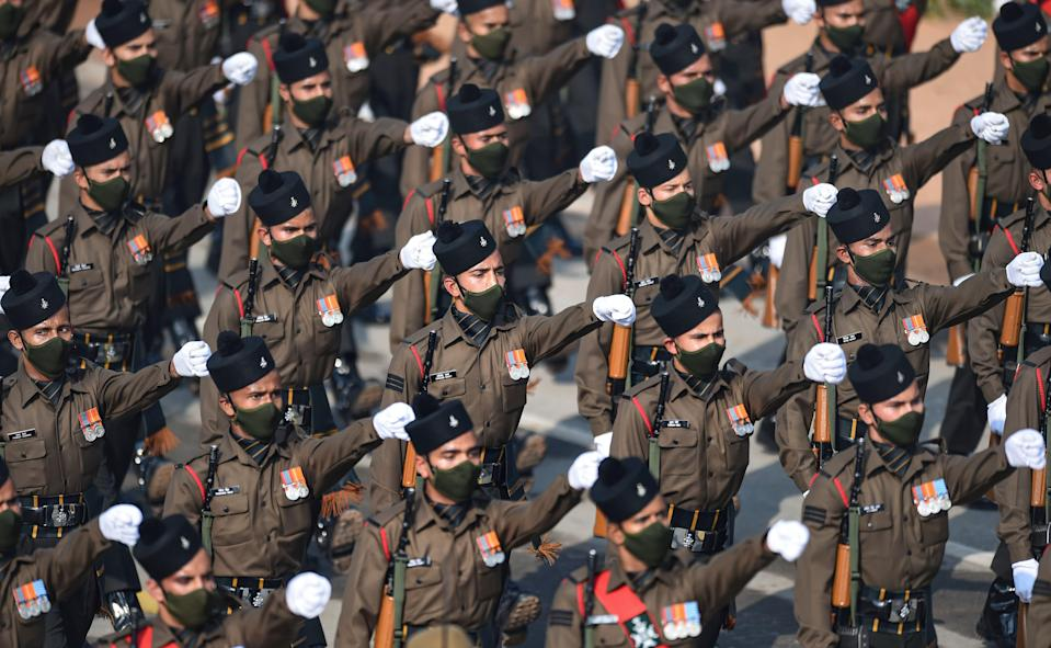 New Delhi: Members of Garhwal rifles contingent pass through Rajpath during the 72nd Republic Day celebrations, in New Delhi, Tuesday, Jan. 26, 2021.