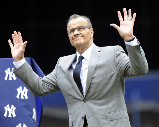 Former New York Yankees manager Joe Torre reacts as the Yankees retired his number during a ceremony before a baseball game against the Chicago White Sox Saturday, Aug. 23, 2014, at Yankee Stadium in New York. (AP Photo/Bill Kostroun)