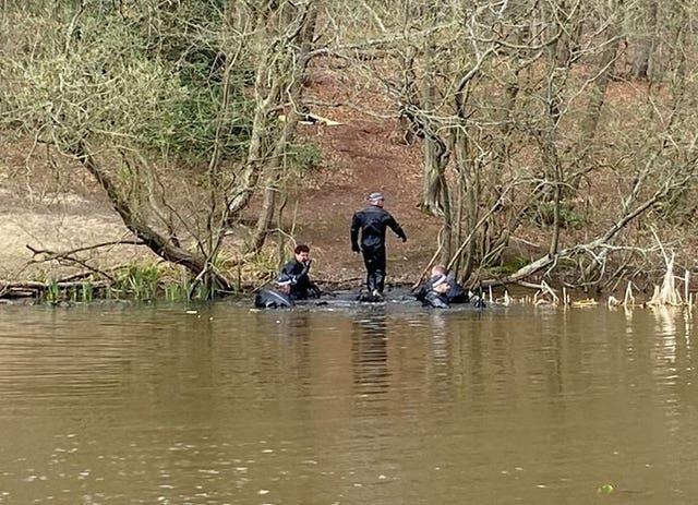 Police divers searching in Epping Forest as part of the investigation into Mr Okorogheye's disappearance