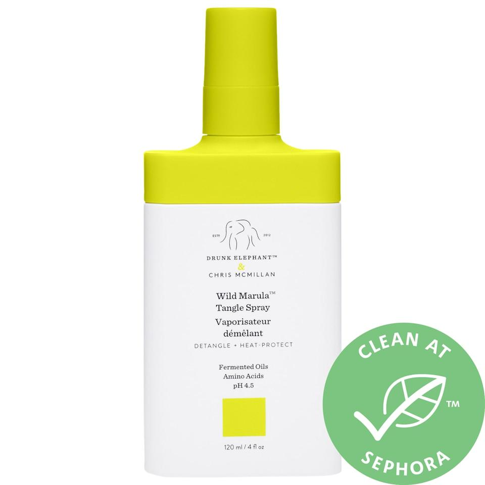 """<p>The <a href=""""https://www.popsugar.com/buy/Drunk-Elephant-Wild-Marula-Tangle-Spray-560500?p_name=Drunk%20Elephant%20Wild%20Marula%20Tangle%20Spray&retailer=sephora.com&pid=560500&price=25&evar1=bella%3Aus&evar9=47520410&evar98=https%3A%2F%2Fwww.popsugar.com%2Fbeauty%2Fphoto-gallery%2F47520410%2Fimage%2F47520428%2FDrunk-Elephant-Wild-Marula-Tangle-Spray&list1=hair%2Csephora%2Cshampoo%2Cconditioner%2Cbeauty%20shopping%2Cstaying%20home&prop13=mobile&pdata=1"""" class=""""link rapid-noclick-resp"""" rel=""""nofollow noopener"""" target=""""_blank"""" data-ylk=""""slk:Drunk Elephant Wild Marula Tangle Spray"""">Drunk Elephant Wild Marula Tangle Spray</a> ($25) is a light, leave-in mist offering detangling and heat protection as its frizz-fighting fermented nut, fruit, and tea oils smooth (without silicones).</p>"""