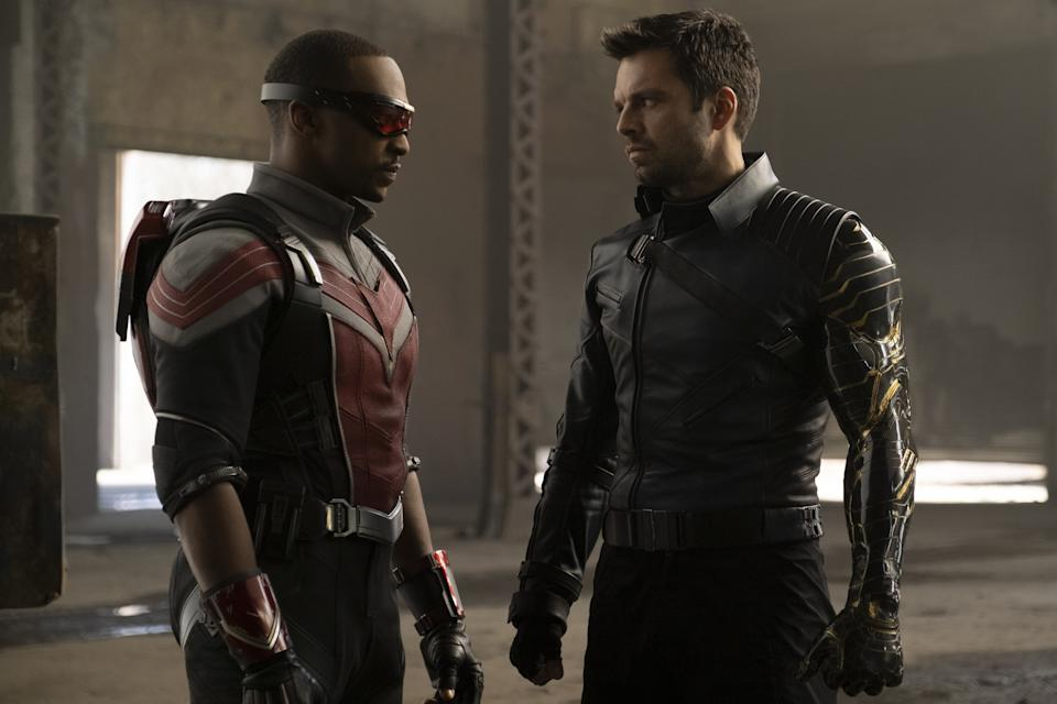 A still image from Marvel's TV series The Falcon and the Winter Soldier showing The Falcon (Anthony Mackie) and the Winter Soldier (Sebastian Stan)
